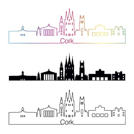 Style linéaire de Cork avec arc-en-ciel en fichiers vectoriels éditables Vecteurs