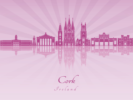 radiant: Cork  skyline in purple radiant orchid in editable vector file