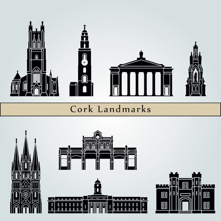 Cork  landmarks and monuments isolated on blue background in editable vector file Ilustrace