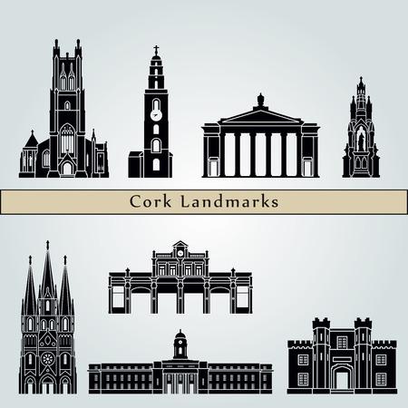 Points de repère de Liège et monuments isolés sur fond bleu dans le fichier vectoriel éditable Vecteurs