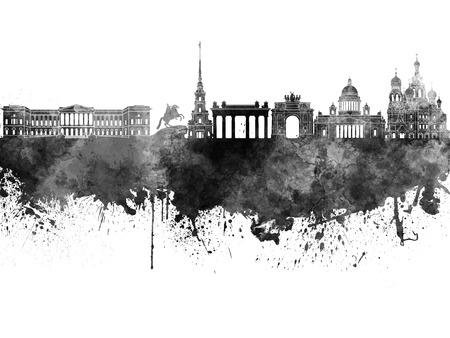 petersburg: Saint Petersburg skyline in black watercolor on white background Stock Photo