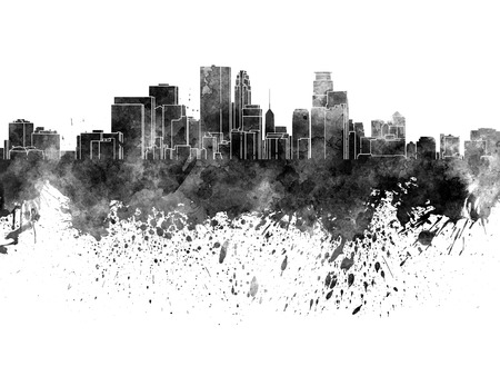 Minneapolis skyline in black watercolor on white background