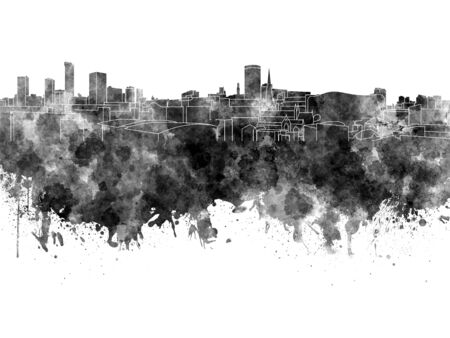 birmingham: Birmingham skyline in black watercolor on white background Stock Photo