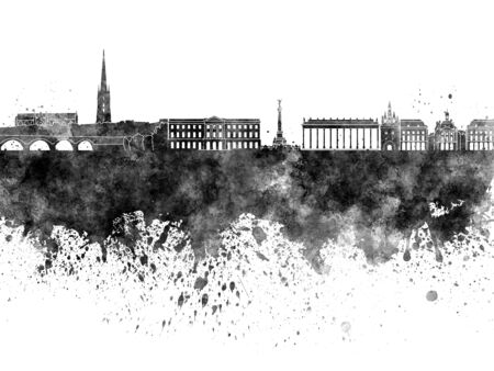 Bordeaux skyline in black watercolor on white background