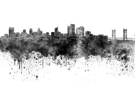 Sacramento skyline in black watercolor on white background Stock Photo