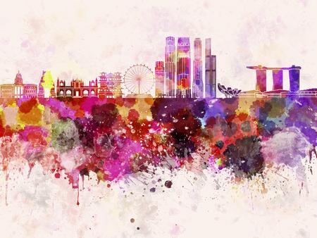 水彩画背景でシンガポールのスカイライン 写真素材