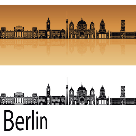 horizon reflection: Berlin skyline in orange background in editable vector file Illustration