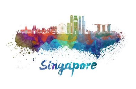 クリッピング パスと水彩の飛び散りでシンガポール V2 スカイライン