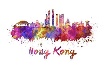 クリッピング パスと水彩の飛び散りで香港のスカイライン 写真素材