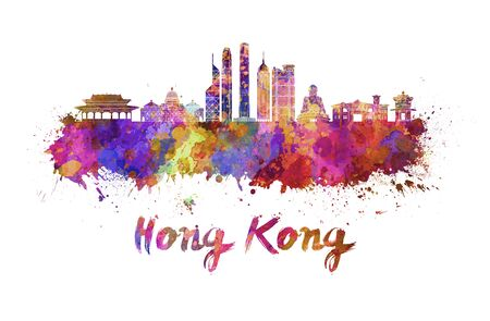 Hong Kong skyline in watercolor splatters with clipping path Standard-Bild