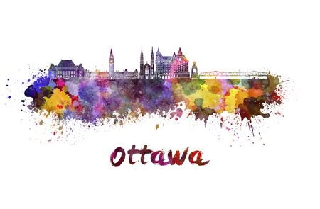 Ottawa skyline in watercolor splatters with clipping path