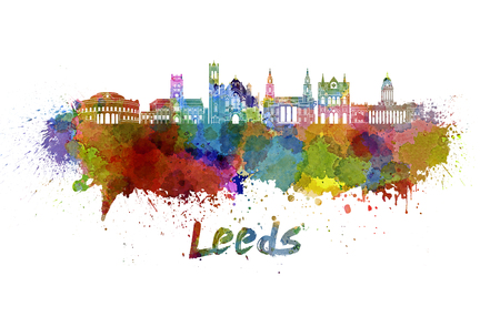 leeds: Leeds skyline in watercolor splatters with clipping path
