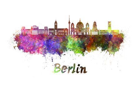 クリッピング パスと水彩の飛び散りでベルリンのスカイライン 写真素材