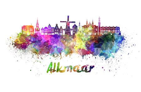 Alkmaar skyline in watercolor splatters with clipping path