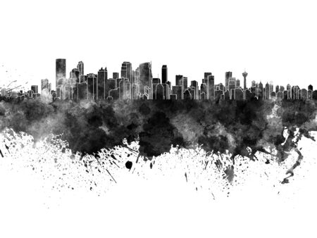 calgary: Calgary skyline in black watercolor on white background