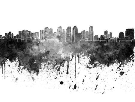 san diego: San Diego skyline in black watercolor on white background Stock Photo