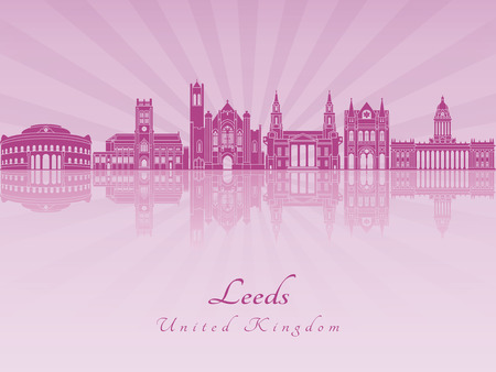 leeds: Leeds V2 skyline in purple radiant orchid in editable vector file