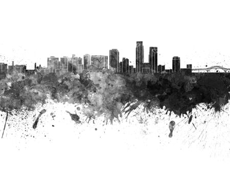 corpus: Corpus Christi skyline in black watercolor on white background Stock Photo