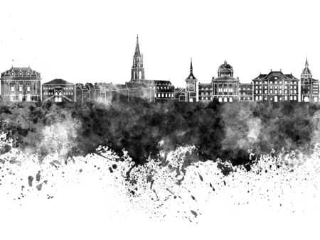 toulouse: Toulouse skyline in black watercolor on white background Stock Photo