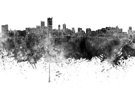 leeds: Leeds skyline in black watercolor on white background