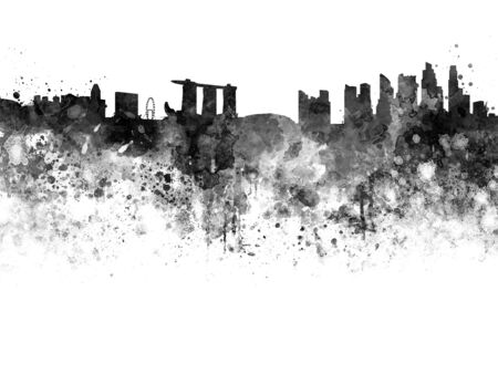 abstract wallpaper: Singapore skyline in black watercolor background