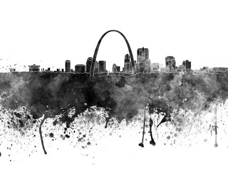 St Louis skyline in black watercolor
