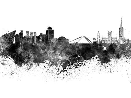 Coventry skyline in black watercolor