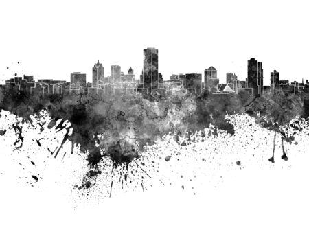 wisconsin: Milwaukee skyline in black watercolor