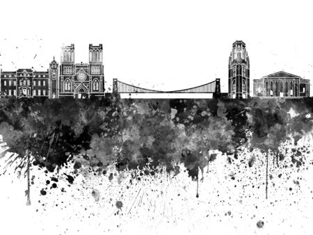 Bristol skyline in black watercolor