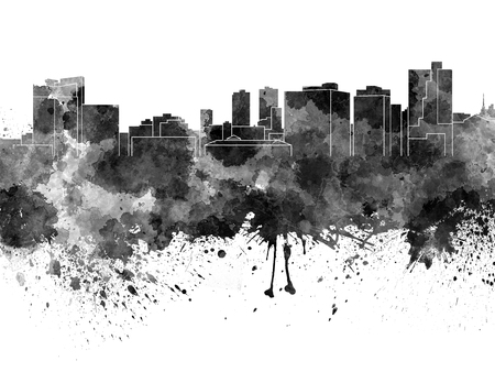 Fort Worth skyline in black watercolor Stock Photo
