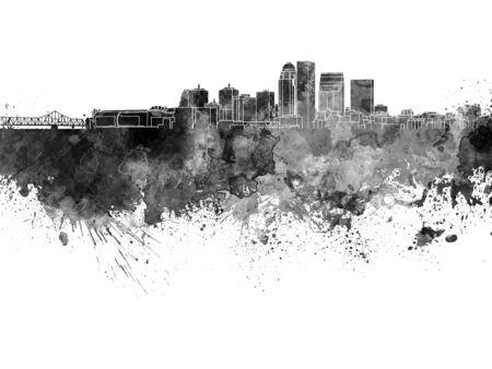 louisville: Louisville skyline in black watercolor Stock Photo