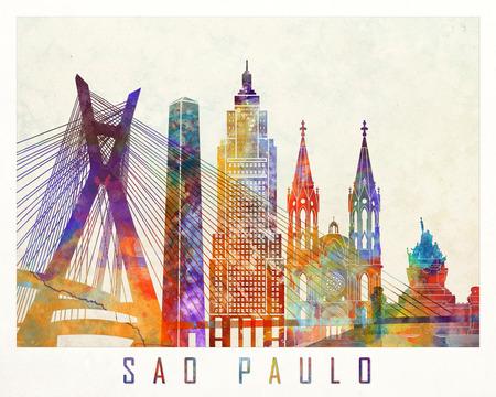 상파울루 랜드 마크 수채화 포스터 스톡 콘텐츠
