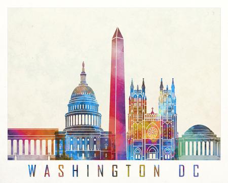 워싱턴 DC 랜드 마크 수채화 포스터