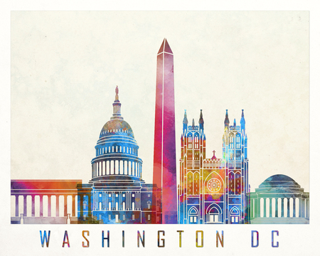 Washington DC landmarks watercolor poster Stock Photo