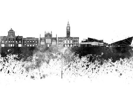 Kingston Upon Hull skyline in black watercolor Stock Photo
