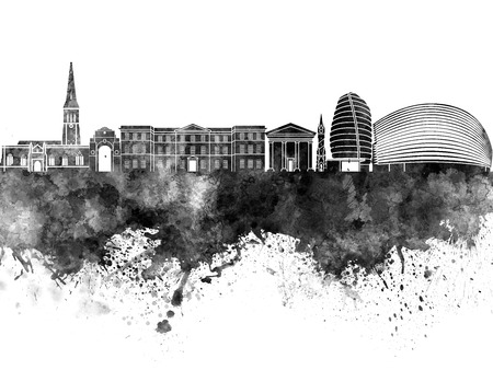 leicester: Leicester skyline in black watercolor Stock Photo