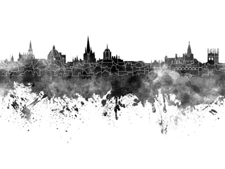 oxford: Oxford skyline in black watercolor Stock Photo