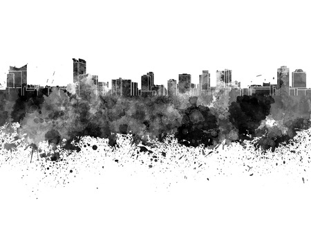 ontario: Windsor skyline in black watercolor Stock Photo