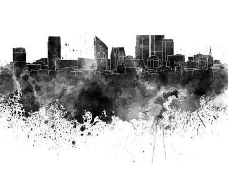 the hague: The Hague skyline in black watercolor Stock Photo