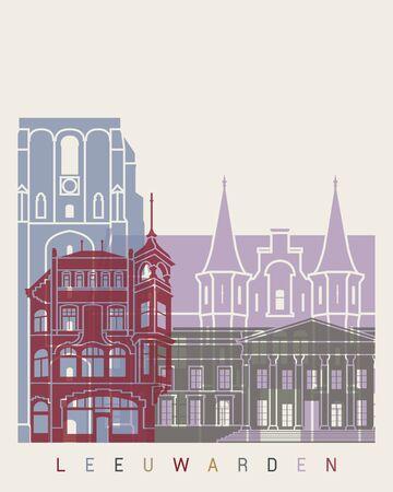 leeuwarden: Leeuwarden skyline poster in editable vector file