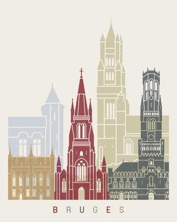 Bruges skyline poster in editable vector file