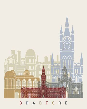 Bradford skyline poster in editable vector file
