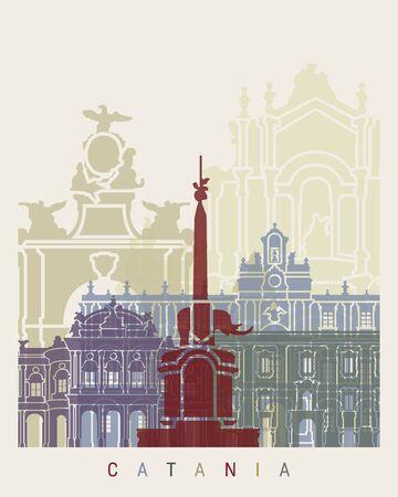 catania: Catania skyline poster in editable vector file