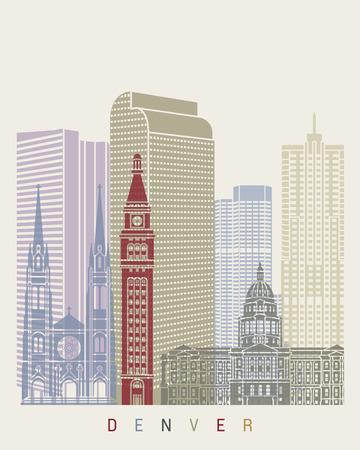 denver: Denver skyline poster in editable vector file Illustration