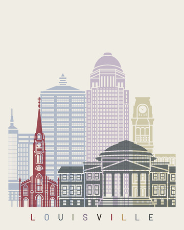 louisville: Louisville skyline poster in editable vector file