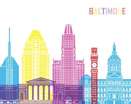 baltimore: Baltimore V2 skyline pop in editable vector file