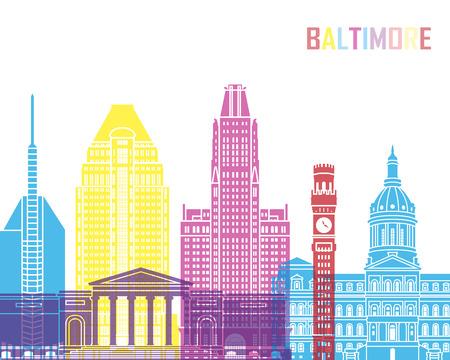 Baltimore V2 skyline pop in editable vector file