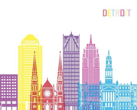 detroit: Detroit skyline pop in editable vector file Illustration
