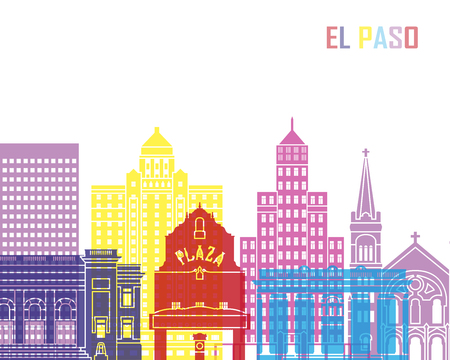 El Paso V2 skyline pop in editable vector file