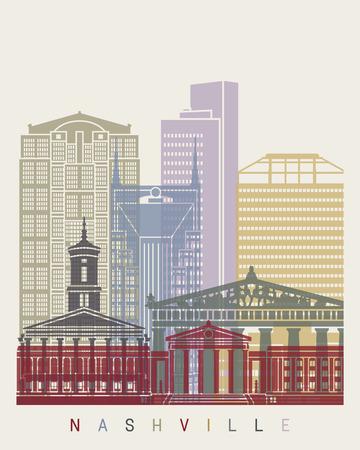 Nashville skyline poster in editable file